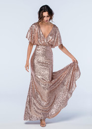 Wholesale Bling Sheath Wedding Dress - Bling Rose Pink Sequined Bridesmaid Dresses 2017 Sheath Bridesmaids Dresses With Deep V-Neck Backless Formal Gowns Cheap Wedding Guest Dress