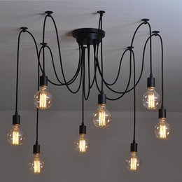 Wholesale Live Spiders - Vintage Nordic Spider Pendant Lamp Multiple Adjustable Retro Pendant Lights Loft Classic Decorative Fixture Lighting Led Home