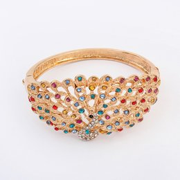 Wholesale Peacock Diamond Ring - Fashion Exaggerated Peacock Newmond Open Bracelet Silver Gold Bangle Diamond Women Bracelet High Quality Crystal Jewelry
