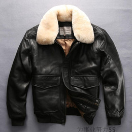 Wholesale Genuine Fur Collars - new arrival lamb fur collar lapel neck AVIREX FLY men genuine leather jackets 100% flight bomber jacket