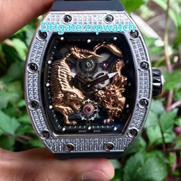 Wholesale Tiger Dragon - Brand new high quality brand automatic watch full diamond Meiho dragon tiger face stainless steel silver case rubber strap AAA quality watch