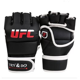 fighting training gear Promo Codes - UFC Competition Grade MMA Gloves Boxing Sparring Punch Ultimate Mitts Sanda Fighting Training Sandbag Equipment for Adult Men