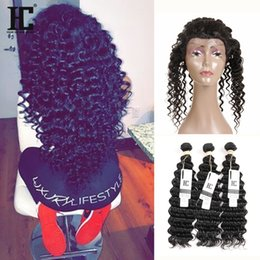 Wholesale Deep Wave Brazillian - HC Hair 360 Lace Frontal With Bundles Brazillian Deep Wave Curly Hair Weaves With Pre Plucked 360 Lace Frontal 4PCS Lot