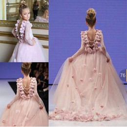 Wholesale Green Baby Pageant Dress - Pink Ball Gown Flower Girl Dresses with Long Sleeves 2016 Flowers Lace Sequin Princess Baby Birthday Wedding Party Gowns Girls Pageant Dress