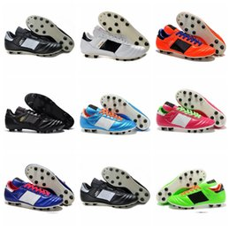 Wholesale World Cup Soccer Shoes - 2016 Men Copa Mundial Leather FG Soccer Shoes Hot Soccer Cleats 2015 World Cup Football Boots Size 39-45 Black White Orange botines futbol