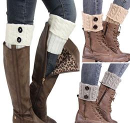 Wholesale Warm Winter Sock - Winter Warm Women Knitted Socks Leg Warmer Button Crochet Knit Boot Socks Toppers Cuffs Beauty Decors Sock Warmers Christmas Gifts