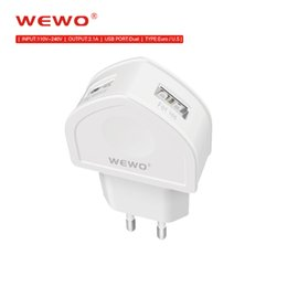 Wholesale Quality Chinese Cell Phones - WEWO Phone Chargers CE ROHS Certified USB Wall Adapter Retail Package Dual Port 2Ports Smart Cell Phone Charger Super Quality