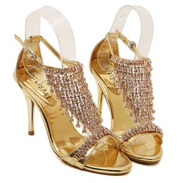 Wholesale Gold Diamond Sandals - wholesaler free shipping factory price hot seller diamond sexy cone heel women gold shoe SANDALS 139