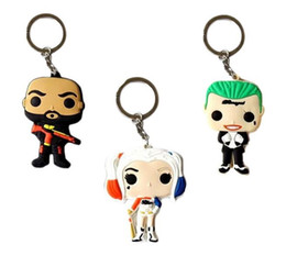 Wholesale Action Man Car - Cartoon Suicde Squad Harley Quinn keychain 3D Action Figure Key Chain pendant for car Keyring accessories