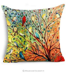 Wholesale Painting Memory - Hyha Painting Polyester Cushion Cover Birds and Woods Abstract Art Color rendering Bear Decorative Pillows Cover for Sofa Cojine
