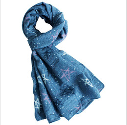 Wholesale Little Star Scarf - Wholesale- 2016 fall fashion star scarf kids stars and little dots printed children scarves soft cotton scarf for baby boys and girls