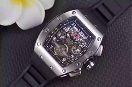 Wholesale Yellow Face Mens Watch - Wholesale Luxury Men Automatic Wristwatch Classic RM011 Big Face Felipe Massa Flyback Transparent Mens Mechanical Tourbillon Watch Gift Box