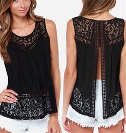 Blusa de renda preta sexy e sem manga on-line-Verão Mulheres Chiffon Crochet Lace Vest Blusa Camisa Sexy Aberto Para Trás Sem Mangas Camisas Regatas Blusas Femininas