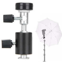Wholesale Umbrella Photography - Black Universal 360 Degree Camera Flash Hot Shoe Adapter Umbrella Holder Swivel Light Stand Bracket Type C Photography Accessory