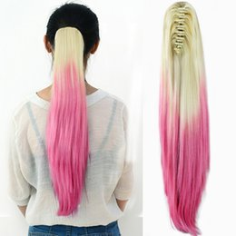 """Wholesale Blonde Roses - Wholesale- 20"""" Women Girls Ombre Hairpiece Long Straight Claw Ponytail Clip in Hair Extensions Blonde to Rose Red Pretty Girl Beauty"""