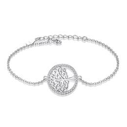 Wholesale Fashion Tree - BELAWANG Exquisite Workmanship Tree of Life Bracelet 925 Sterling Silver Adjustable Link Chain Bracelet For Household Fashion Gift