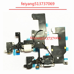 Wholesale Iphone Usb Dock Connector - 10pcs High quality Charging flex cable for iphone 5 5g headphone Audio Jack USB port dock connector flex cable