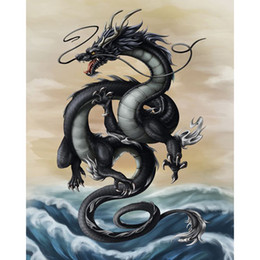 Wholesale Dragon Paint - Black Dragon 100% Full Drill DIY Diamond Painting 5D Diamond Mosaic Cross Stitch Embroidery Home Living Room Decor(Free Shipping)