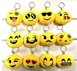 Wholesale Doll For 15 - New 21 style QQ emoji plush pendant Key Chains Emoji Smiley Emotion Yellow QQ Expression Stuffed Plush doll toy for Mobile bag pendant