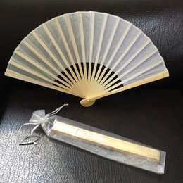 Wholesale Costume Bags - Free shipping Wholesale 50pcs lot White Elegant Folding silk Hand Fan with Organza Gift bag Wedding & Party Favors Gift