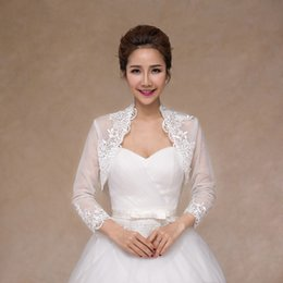 Wholesale Lace Long Sleeve Shrug - Cheap Bridal Lace Boleros Wedding Jackets Long Sleeves Alence Lace Party Capes Bridesmaid Shrug Free Shipping Two Layers High Neck Jacket