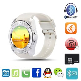 Wholesale Sd Card For Apple - New Arrival Bluetooth Smart Watch V8 Support SIM SD Card SMS MP3 Player SmartWatch Wearable Devices For Apple Android Phone