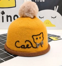 Wholesale Embroidery Bows Girls - Kids winter hats baby girl boys cute plaid BOWS cat embroidery knitting cap children pompon edge knit beanie crochet hat T0597