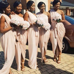 Wholesale One Shoulder Sexy Wedding Sheath - African Bridesmaid Dresses Sexy One Shoulder Long Chiffon Pleats Pale Pink Wedding Party Dress 2017 Waist Sash Maid of Honor Gowns