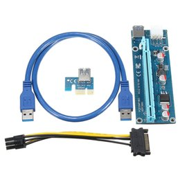 Wholesale Pci Power Cable - Wholesale- Wholesale 6pcs USB 3.0 PCI-E Express 1X 4x 8x 16x Extender Riser Adapter Card SATA 15pin Male to 6pin Power Cable