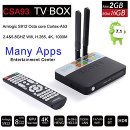 android tv box octa core 2gb Coupons - Amlogic S912 Octa Core Smart TV Box Android 7.1 2GB 16GB Bluetooth 2.4G 5G Wifi 17.0 4K H.265 Media Player Airplay PS4 Xbox Game CSA93