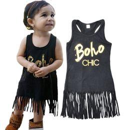 Wholesale Newborn Clothes Sale - Rock Metallic Style Baby Girls Dress Summer Tassel Girls Dress Western Party Newborn Clothes Hot Sales