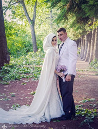 Wholesale Long Red Wedding Cloak - Arabic Muslim Long Bridal Wraps & Jackets White Soft Satin 2017 Cloak Capes for Wedding Dress Floor Length In Stock Free Shipping