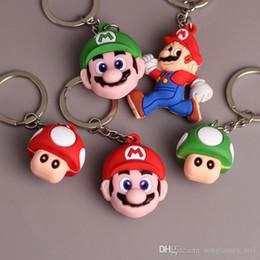 Wholesale Mario Keyrings - Mario PVC Cartoon Action Figures Keychains Toys 2-4cm Mario Brothers Super Mario Mushroom Keychain Pendant Keyring PPA756