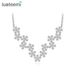 Wholesale Vintage Brass Flower Necklace - LUOTEEMI Fashion Princess Flower Vintage Necklace CZ Necklace Bridal Wedding Jewelry for Women Sexy Choker Necklace Jewelry