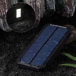 Wholesale solar power backup battery charger - Solar Charger, Portable 15000mAh Solar Battery Charger Dual USB Solar Phone Charger Power Bank Backup Battery with 6 LED Flashlight