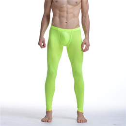 Wholesale Tight Silk Pants - Sexy Men Mesh Transparent Mesh Erotic Ultra-thin Gay Long Johns Ice Silk Leggings Pants Tights Casual Long Underpants Men Pants Sheer