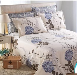 Wholesale Floral Bedding Queen - Free shipping LY-BSH006-2 cotton 40S floral design reactive printed flat bed sheet bed cover home textile beddings sheets