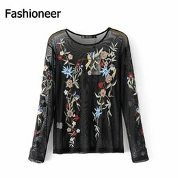 Wholesale See Through Long Blouse - Fashioneer Imvation 2017 Fashion Floral Embroidery Blouse Shirt Women Mesh Sexy Top Female Long Sleeve See-through Women's Shirt Tops