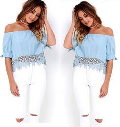 Wholesale Elegant Shirt Women - Fashion Off Shoulder Women Crop Tops Blouses Deep V neck Cotton Elegant Blouses Shirt Casual Sleeve Girls Blouse Blusas