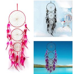 Wholesale Large Hanging Ornaments - Newest India Styles Large Dreamcatcher with 3 Circles Feather Handmade Dream Catcher Wall Hanging Decoration Home Decor Ornament