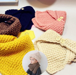 Wholesale Children Handmade Scarf - 6 Colors Baby Winter Scarf Wool Cloak Collar Button Shawl Children Handmade Knitted Wool Neck Scarves