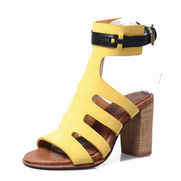 Wholesale Nude Thick Heel Sandals - Yellow Narrow Brand Hollow Out Rome Sandals Women Genuine Leather Thick High Heel Shoes Peep Toe Buckle Fashion Sandal Summer