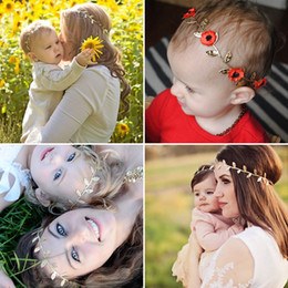 Wholesale Ribbon Flowers Leaves - 15pcs lot Fashion Parent -Child Cute Greek Crown Red Purple Flower Gold Leaves Hair Bands Novelty Glitter Baby Infant Girls Headbands