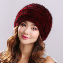Wholesale Mink Fur Yarn - 2016Winter real fur hat for women natural mink fur hat with lining knitted fur beanies with flower new arrival good quality