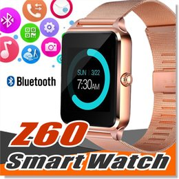 Wholesale Stainless Watches Camera - Bluetooth Smart Watchs Phone Z60 Smart watch Stainless Steel Support SIM TF Card GT08 GT09 DZ09 Smartwatch for IOS Android