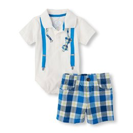 Wholesale Tshirt Babies - New Baby Boy Clothes White Short Sleeve Tshirt+Striped Short Pants Two Pieces 0-18M Newborn Baby Sets