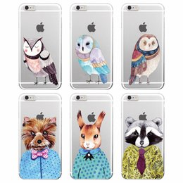 Wholesale Case Iphone 4s Dog - 2016 Raccoon Bunny Dog Owl Dots Bow Animals Autumn Soft Case Cover For iPhone 7Plus 7 6 6Plus 5S 4S SE 5C 6S