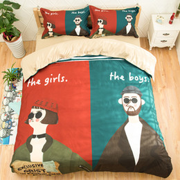 Wholesale Boys Full Size Comforter - Fashion Design 2017 New Arriving Boy Girl Printing Bedding Sets Twin Full Queen King Size Fabric Cotton Duvet Covers Pillow Shams Comforter