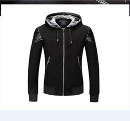 Wholesale Leather Hooded Biker Jacket Men - brand luxury motorcycle biker Punk leather jacket men Hooded jacket mens quilted leather bomber motor cycle jacket blouson cuir mouton homme