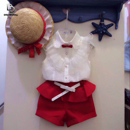 Wholesale Cheap Kids Clothing Sets - Wholesale- new fashion 2015 summer style Girl lace white blouses + red shorts clothing set kids clothes sets with belt cheap clothes china